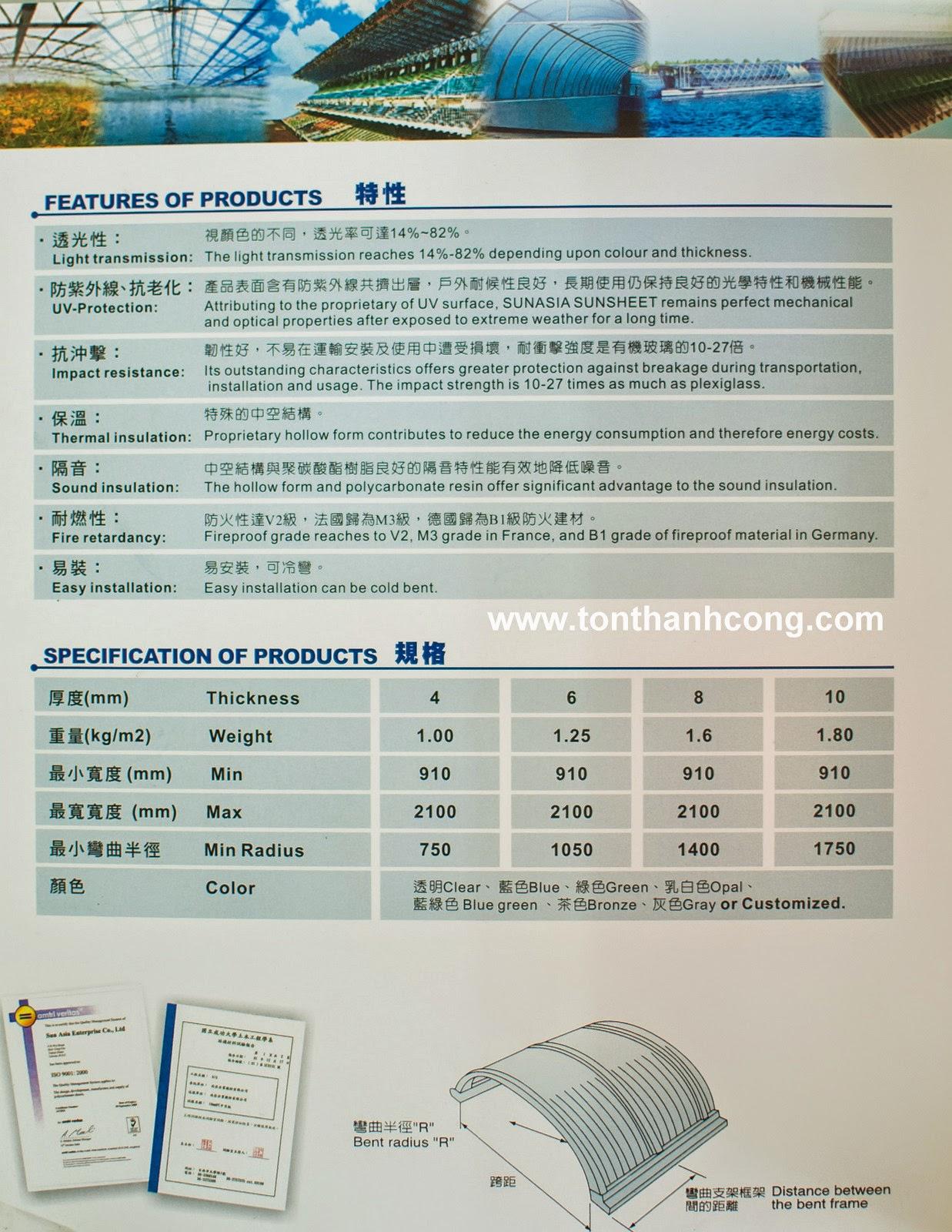 Tấm Lợp Lấy Sáng Polycarbonate Rỗng Ruột QueenLite - Trang 3