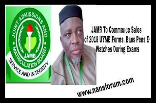Image for JAMB To Commence Sales of 2018 UTME Forms, Bans Pens & Watches During Exams