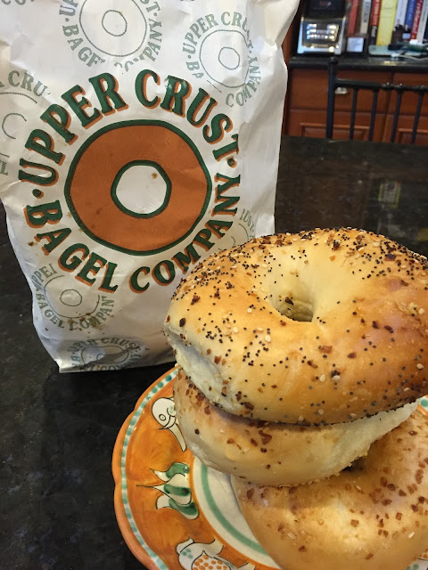 Venture & Roam: Everything and Onion bagels from Upper Crust Bagel Co, bagels,
