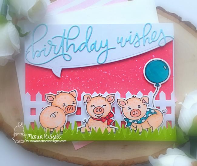 Pig Birthday Card by Maria Russell | Oink Stamp Set, Fence Die, Speech Bubbles Die Set, and Land Borders Die Set by Newton's Nook Designs #newtonsnook #handmade