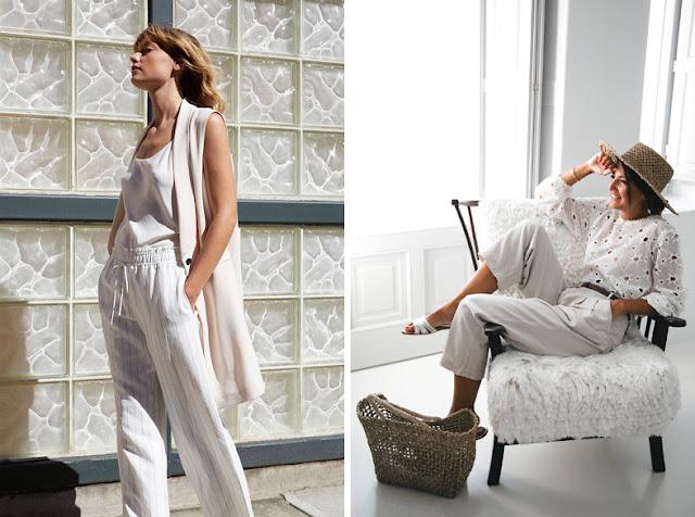 Девушки в белых брюках, белом жакете без рукавов и белой блузке в шляпе