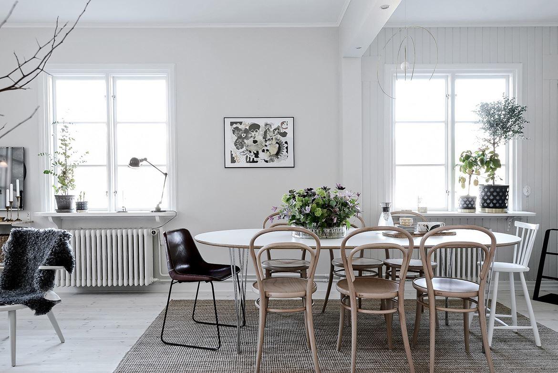 mesa, sillas, radiador, estilo nordico, decoracion nordica, escandinavo, portavelas, candelabro, cuadro, lampara, alfombra, interiorismo, barcelona, alquimia deco