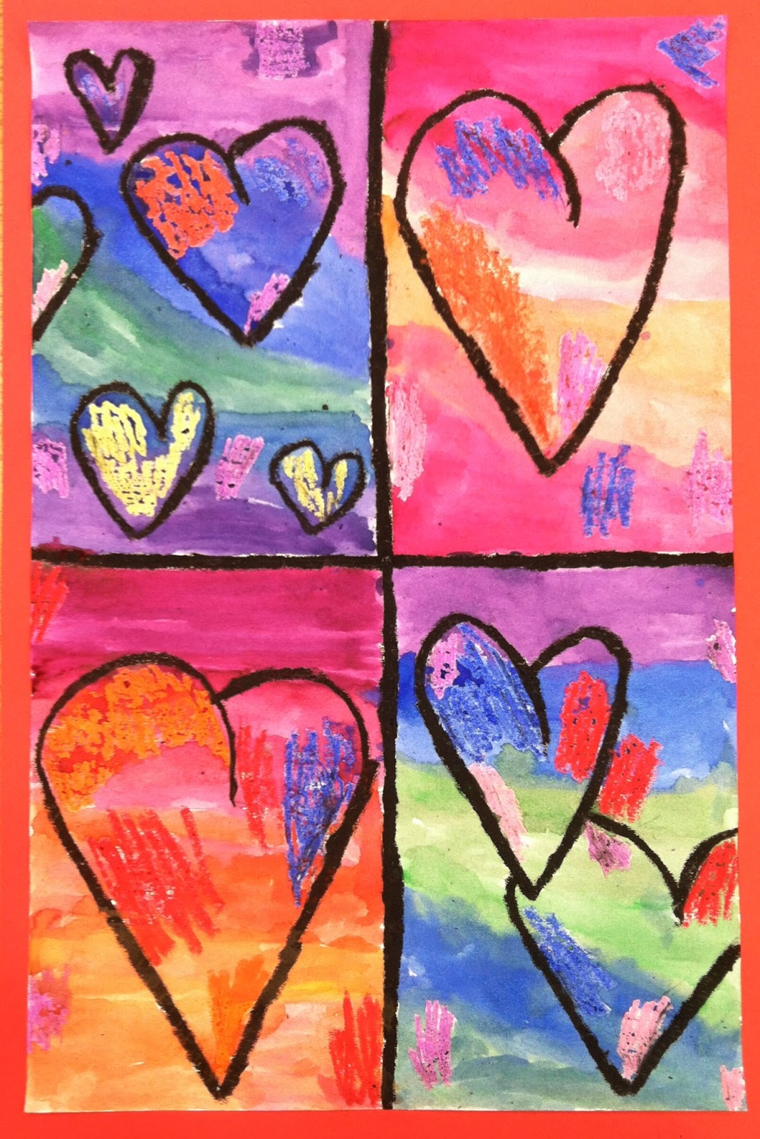 Picasso's Rose-Period Woven Hearts - Deep Space Sparkle |Heart Art Projects
