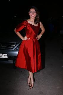 Actress Hansika Motwani Stills in Red Short Dress at Pokkiri Raja Single Track Launch  0034