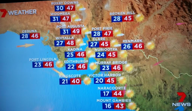 A photo of the TV screen showing the South Australian state weather report of Channel Seven News with minima and maxima in degrees Celsius:  RoxbyDowns 30/47, Woomera 31/47, Broken Hill 28/45, Ceduna 28/46, Port Augusta 31/49, Port Pirie 28/47, Whyalla 27/48, Clare 27/45, Renmark 26/46, Kadina 25/46, Nuriootpa 24/45, Port Lincoln 23/46, Edithburgh 22/46, Murray Bridge 23/46, Kingscote 21/40, Victor Harbor 20/45, Naracoorte 17/44, Mount Gambier 16/43.