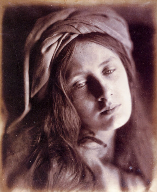 "Study of Beatrice Cenci. Model is May Prinsep. 1866. Albumen print, 335 x 267mm (13 1/4 x 10 1/2""). Scanned from Colin Ford's Julia Margaret Cameron: 19th Century Photographer of Genius. Originally from National Museum of Photography, Film & Television, Bradford.In Photos: Remembering Celebrity Photographer Julia Margaret Cameron, history of photography, vintage photos, photography news, photography"