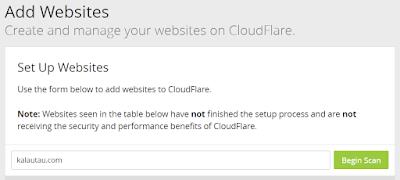 kalautau.com - add site cloudflare untuk memulai scan