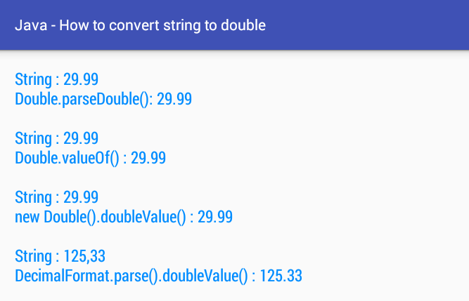 Android Java How To Convert String Double