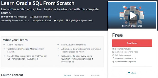 [100% Free] Learn Oracle SQL From Scratch