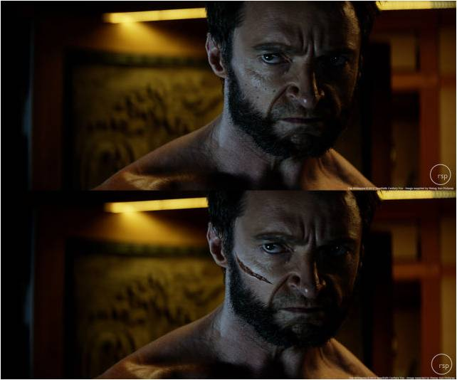60 Iconic Behind-The-Scenes Pictures Of Actors That Underline The Difference Between Movies And Reality - The Wolverine with or without the cut mark.