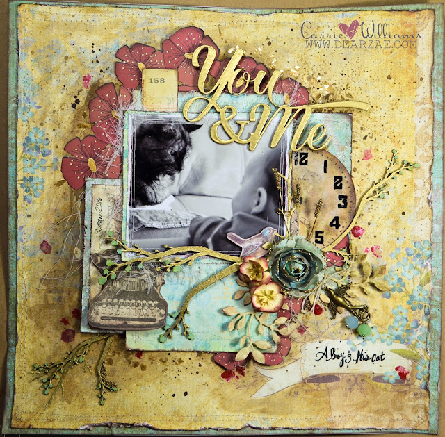 A Boy and His Cat Layout by Carrie Williams - Dearzae.com - Mixed Media scrapbook page in antique gold and soft blue with pops of red - With Blue Fern Studios chipboard heat embossed with antique gold embossing powder, handmade flowers available at dearzae.etsy.com, wild orchid flowers