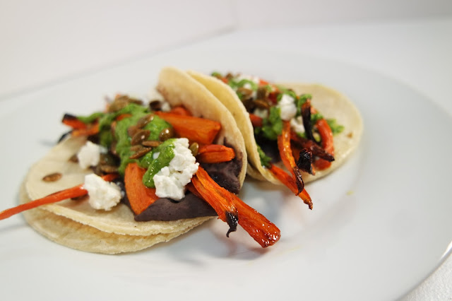 Cane Glazed Carrots, Black Bean Purée, Pepitas, Goat Cheese, Chimi, Corn Tortillas