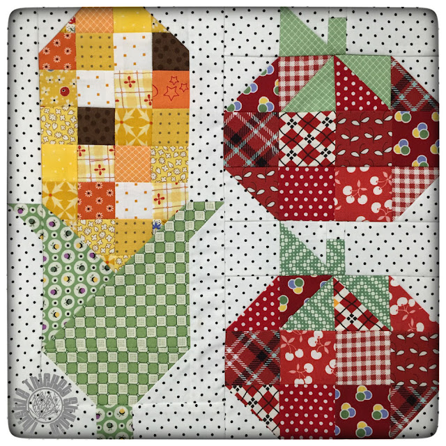 Corn and Tomatoes Block by Thistle Thicket Studio for Lori Holt's Farm Girl Vintage Sew Along. www.thistlethicketstudio.com