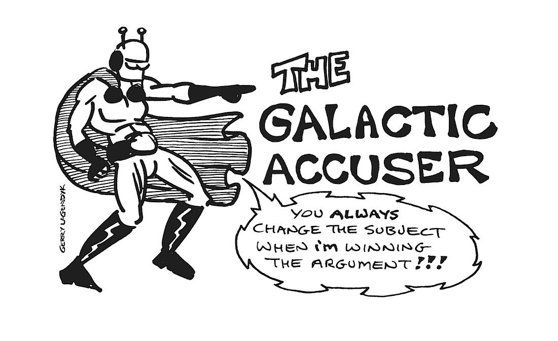 the Galactic Accuser, superhero parody