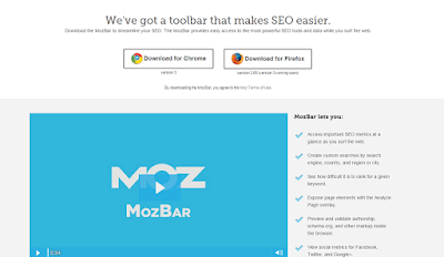 mozbar seo metrics for each web page