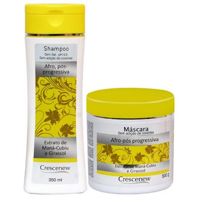 Kit Shampoo e Máscara Hidratante Capilar para Cabelos Afros Crescenew