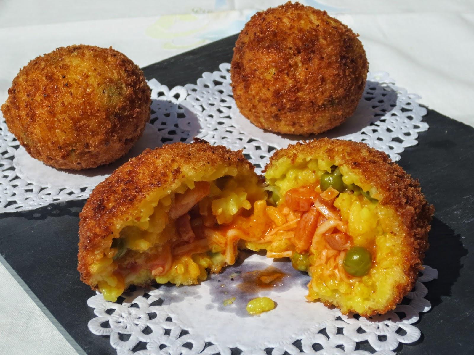 Arancini de pizza (Bolas de arroz) Ana Sevilla cocina tradicional