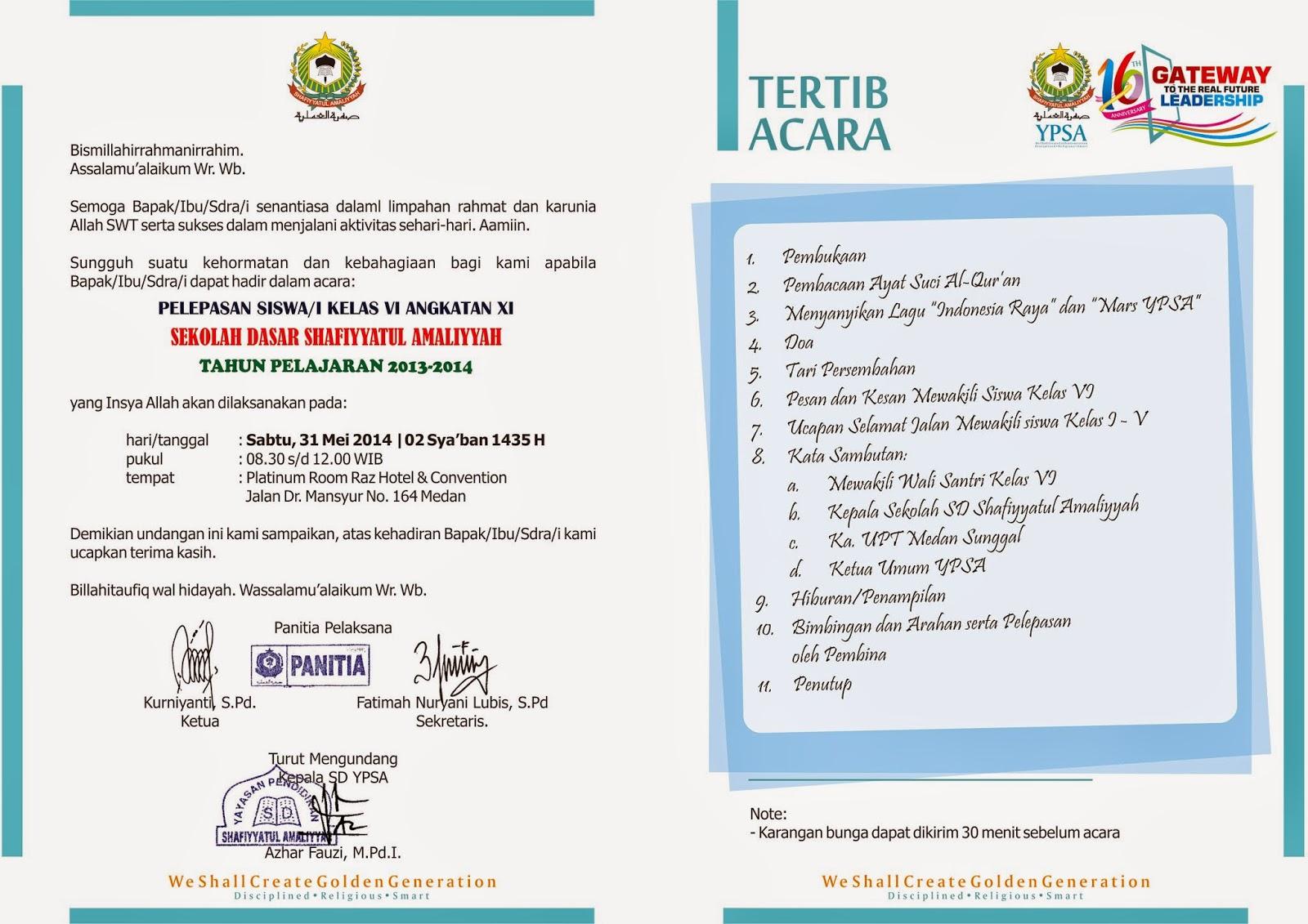 Format Undangan Perpisahan Sekolah