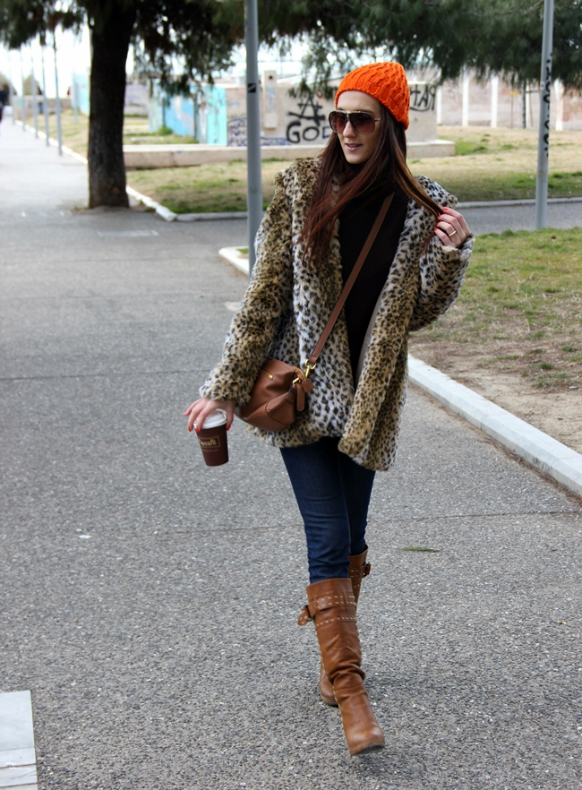 Leopard Print Faux Fur Coat outfit ideas for winter