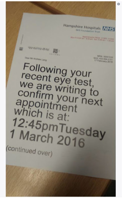 Funny NHS Eye Appointment Letter Picture