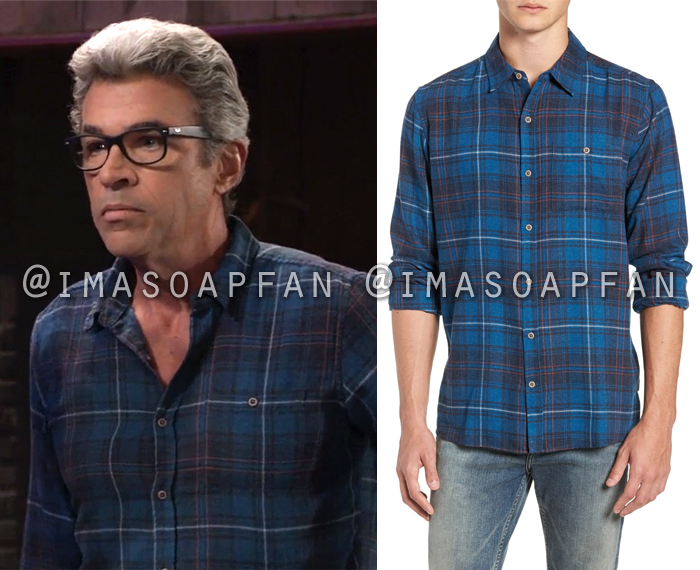 Mac Scorpio, John J York, Blue Plaid Flannel Shirt, General Hospital, GH