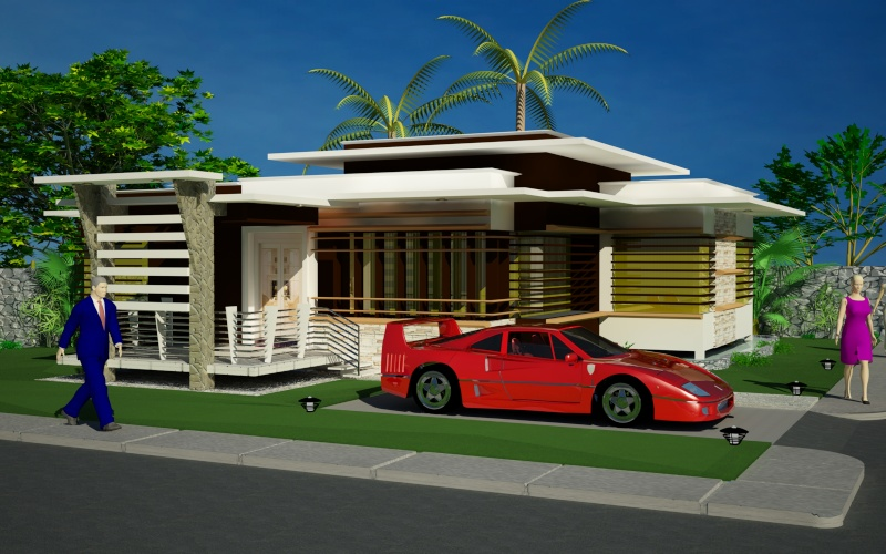 Modern bungalows exterior designs for Modern bungalow plans