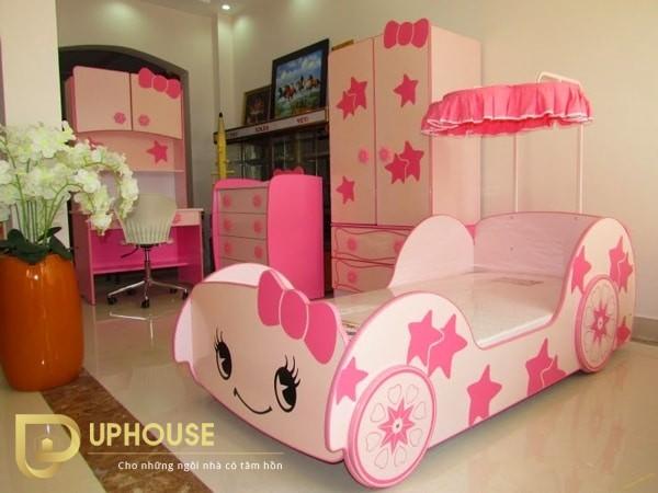 Phòng ngủ màu hồng trắng 04