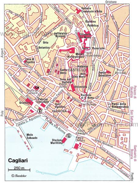 Mapa de Cagliari - Sardenha - Itália
