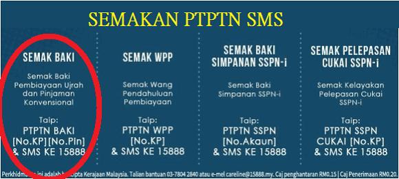 cara semakan baki pinjaman PTPTN online dan SMS