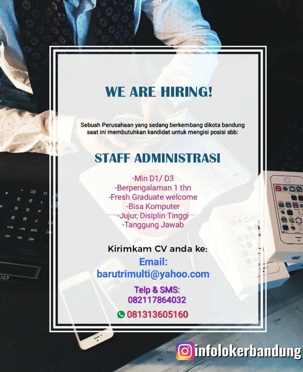Lowongan Kerja Staff Administrasi CV. Artha Graha Bandung Mei 2019