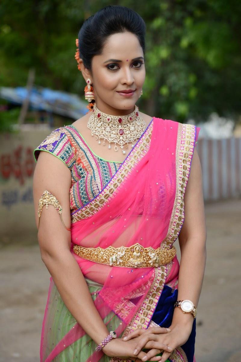 Anchor Anasuya In Half Saree At Game Show Maa Mahalakshmi