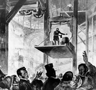 Gambar Otis jatuh bebas demonstrasi keselamatan pada 1854.