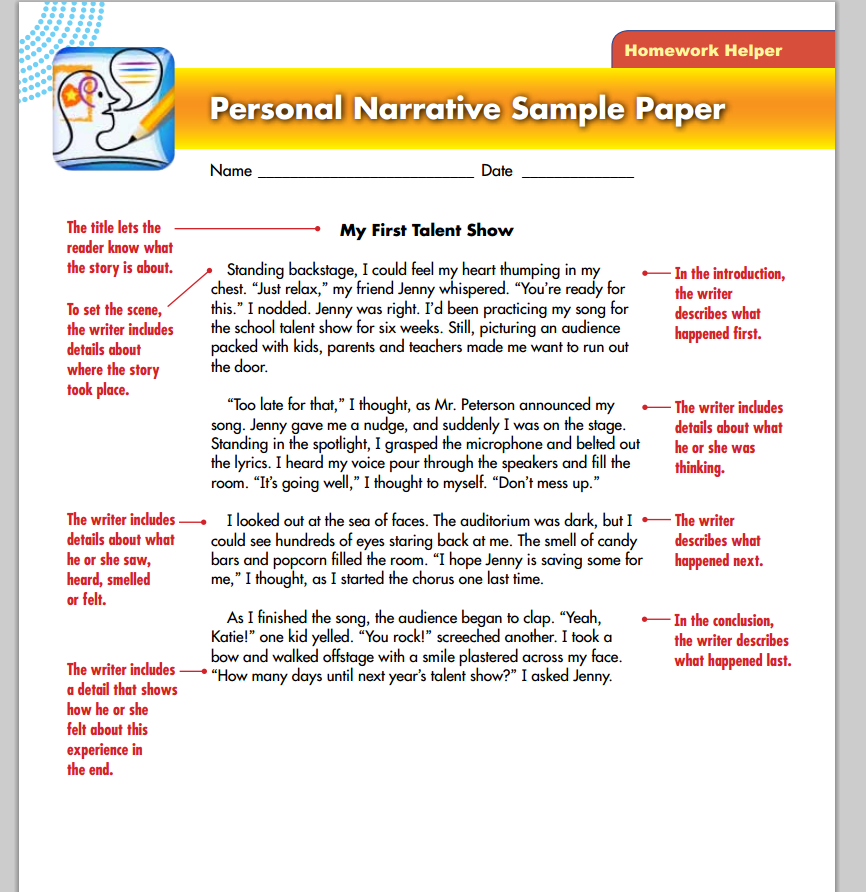 Personal narrative essay contest