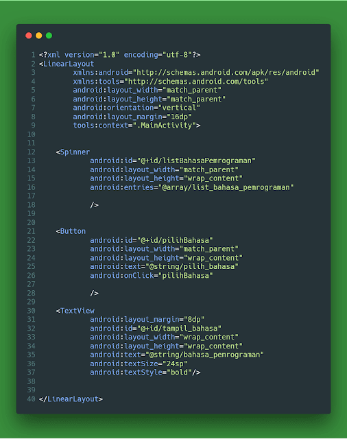 activity_main.xml spinner button textview aplikasi android studio file xml