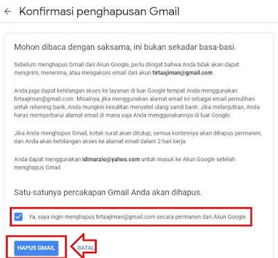 cara menghapus email gmail permanen
