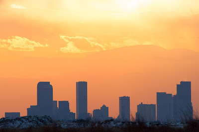 Sunset over Denver skyline, Rocky Mountain Arsenal National Wildlife Refuge
