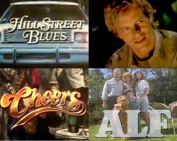 "Header image of the article ""Top 10 Tv Themes From The 80s"". Includes:Hill Street Blues, MacGyver, Cheers, Alf"