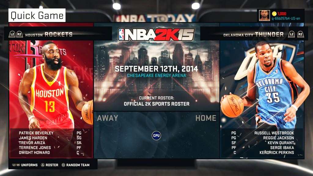 NBA 2K15 Team Navigation Menu