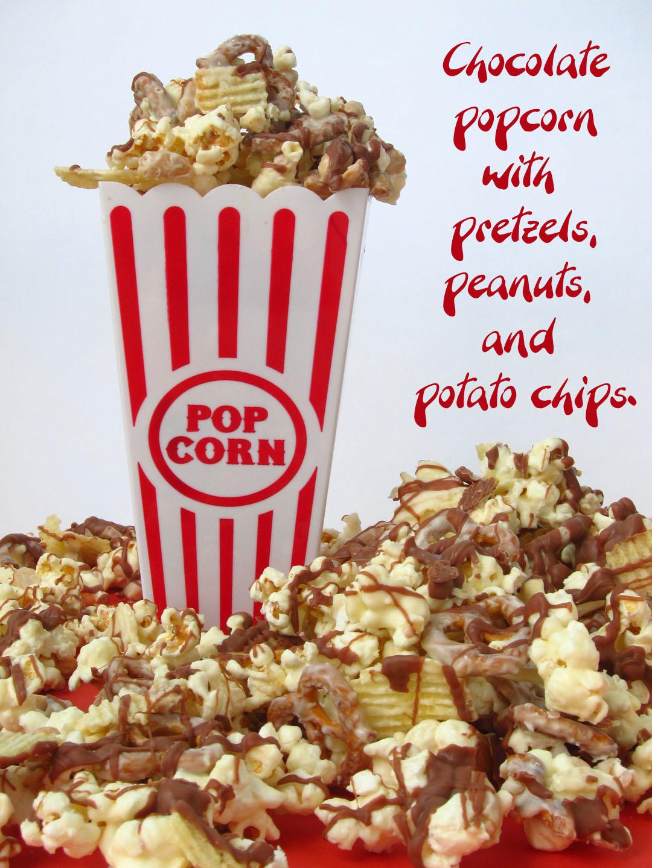 Crunchy Amp Creamy Chocolate Popcorn With Peanuts Pretzels