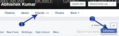 Apni profile me jaye. Friends par jaye. Edit privacy me click kare.