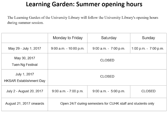 Learning Garden: Summer opening hours