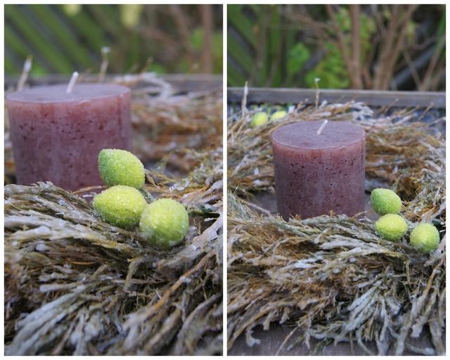 Gewachster Asparaguskranz mit Kerze