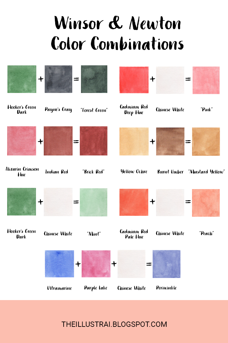 I've rounded up my current favorite color mixtures using Winsor & Newton Cotman watercolors and drafted a guide on how to recreate these colors.