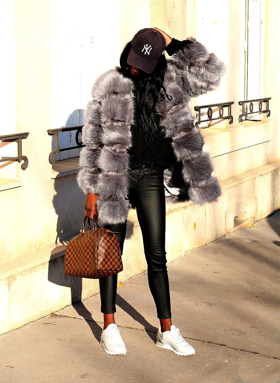 fake-fur-coat-chiquelle-white-sneakers-luxury-bag-speedy-damier-ebene