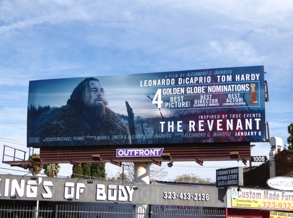Revenant Golden Globe nomination billboard