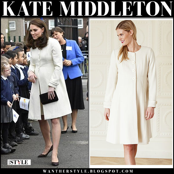 Kate Middleton in cream white maternity coat jojo maman royal family fashion march 5