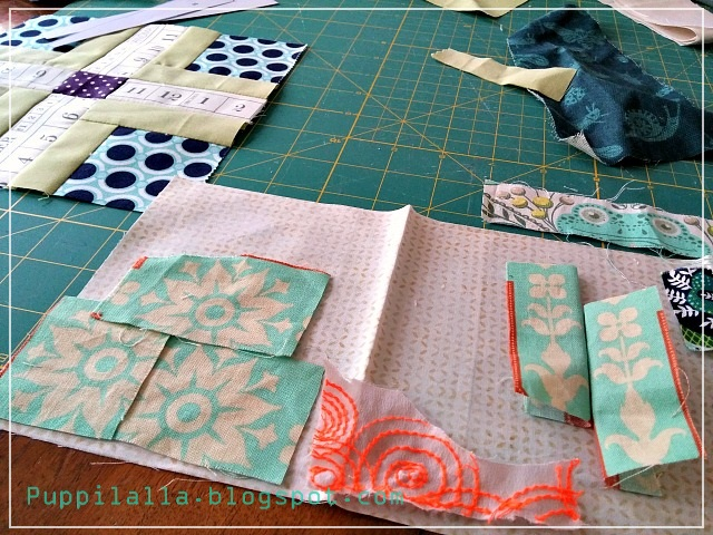 Puppilalla, Improv Piecing, Quilt Block, Up the Ante, Sampler Quilt, Free Quilt Block,
