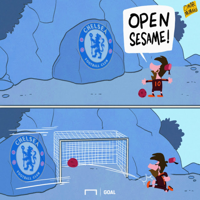 Messi and Chelsea cave cartoon
