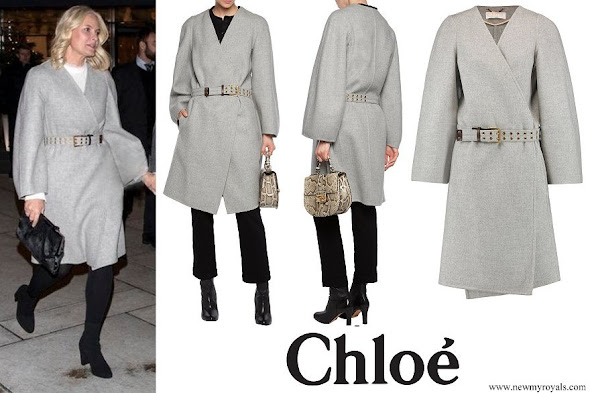 Crown Princess Mette-Marit wore CHLOE Wool and cashmere-blend felt coat