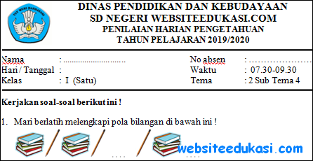 Soal PH Kelas 1 Tema 2 Subtema 4